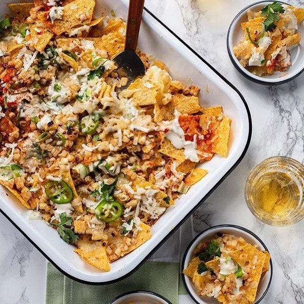 Nachos baked in Falcon Enamelware Bake set