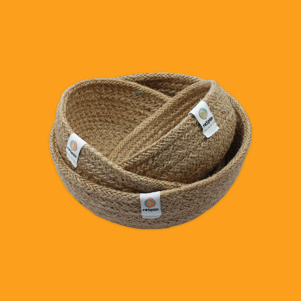 Jute Mini Bowl Set in Natural