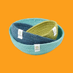 Jute Mini Bowl Set in Ocean