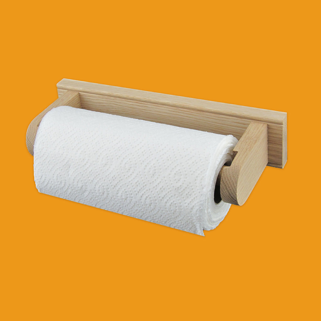 Oak kitchen roll holder with kitchen roll