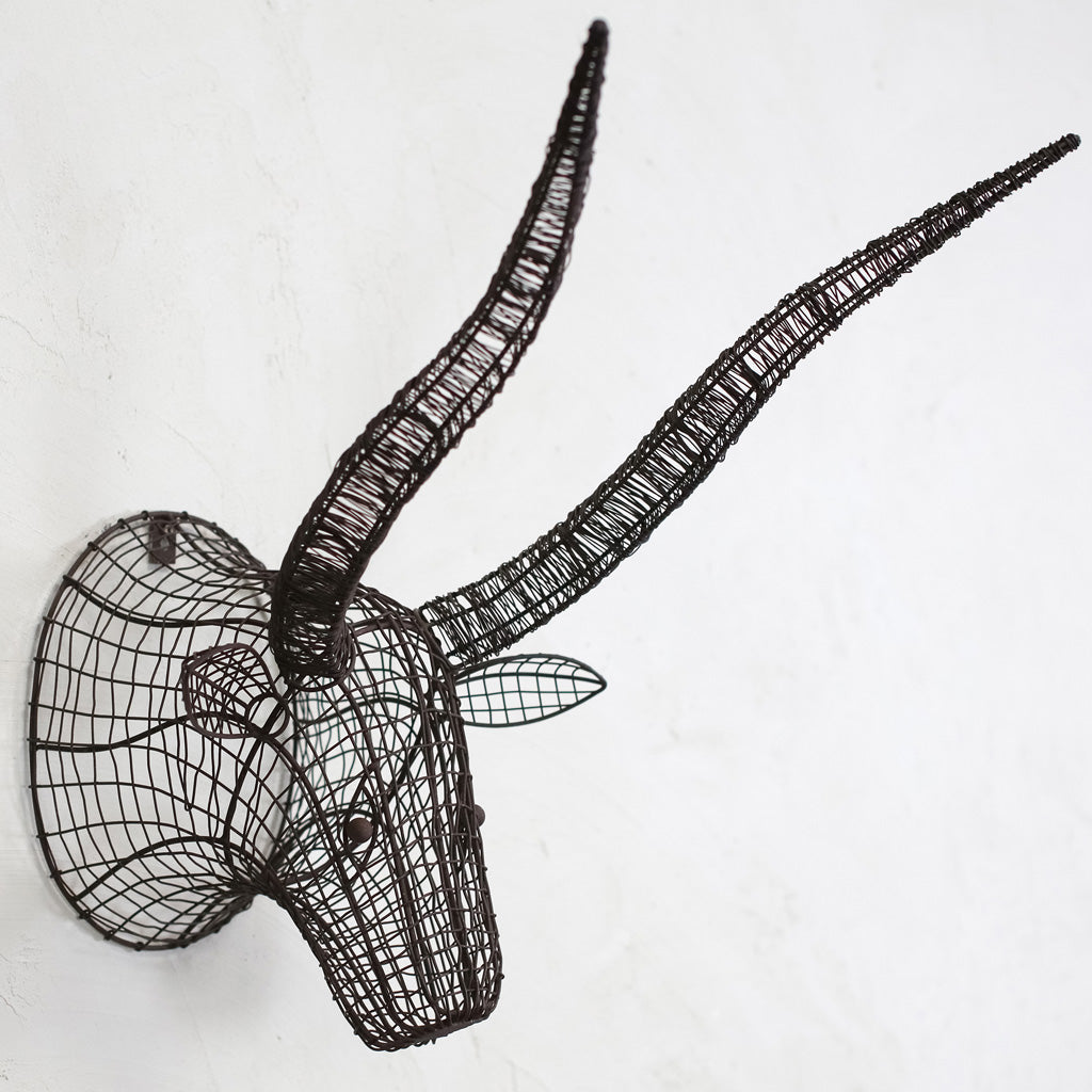 nkuku Eko Wire Bull head on a wall