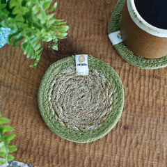 Seagrass & Jute Coaster in Green on table