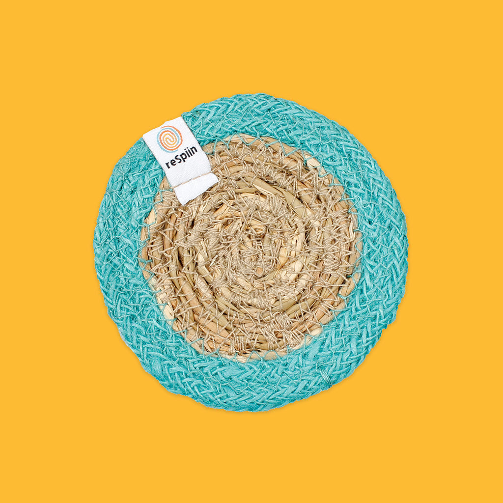 Seagrass & Jute Coaster in Turquoise