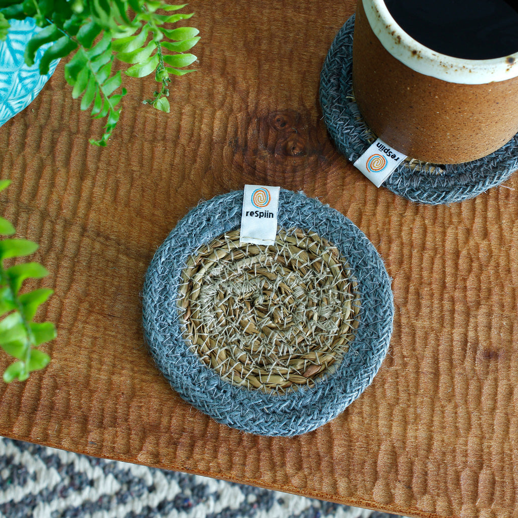 Seagrass & Jute Coaster in Grey on table