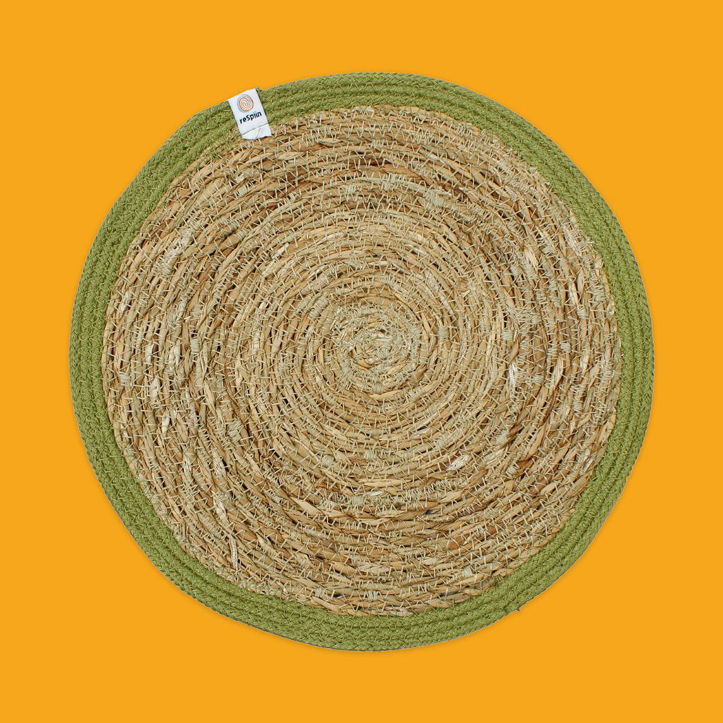 Seagrass & Jute Tablemat in green