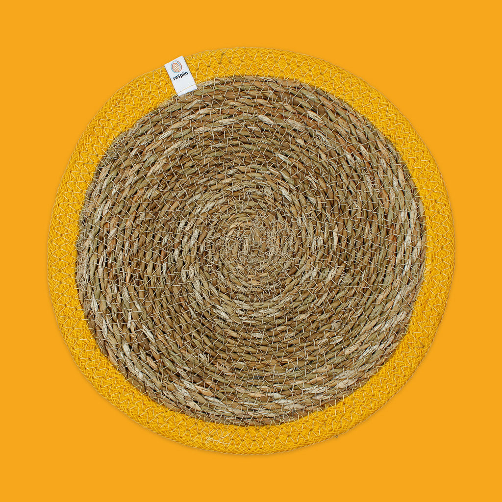 Seagrass & Jute Tablemat in Yellow