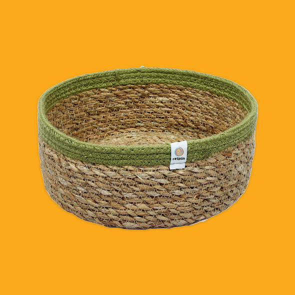 Shallow Seagrass & Jute Basket Green Medium