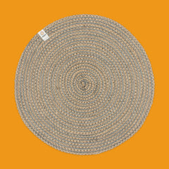 Round Spiral Jute Tablemat in Natural/Grey