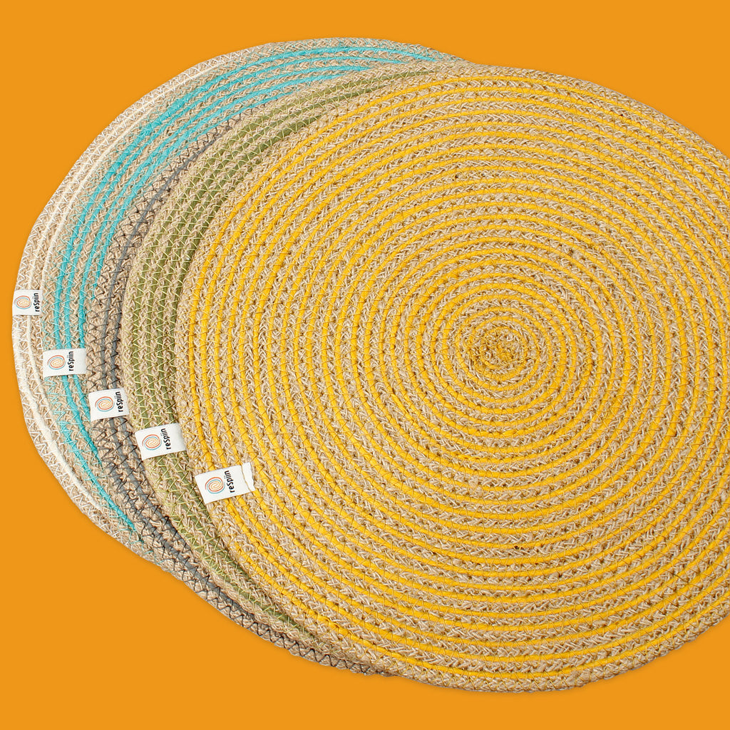 Round Spiral Jute Tablemat Group