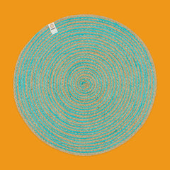 Round Spiral Jute Tablemat in Natural/Turquoise