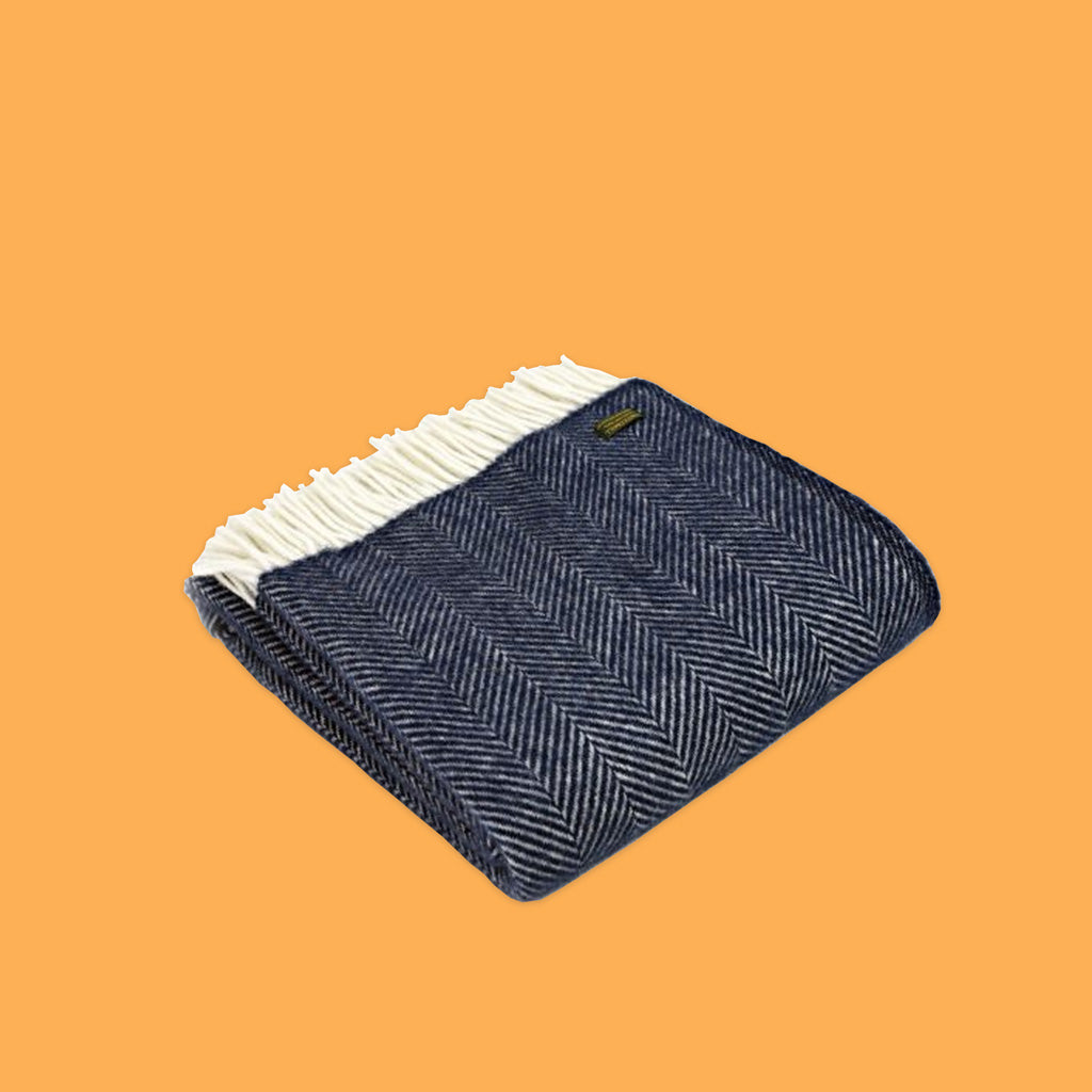 Fishbone Throw in Navy by Tweedmill