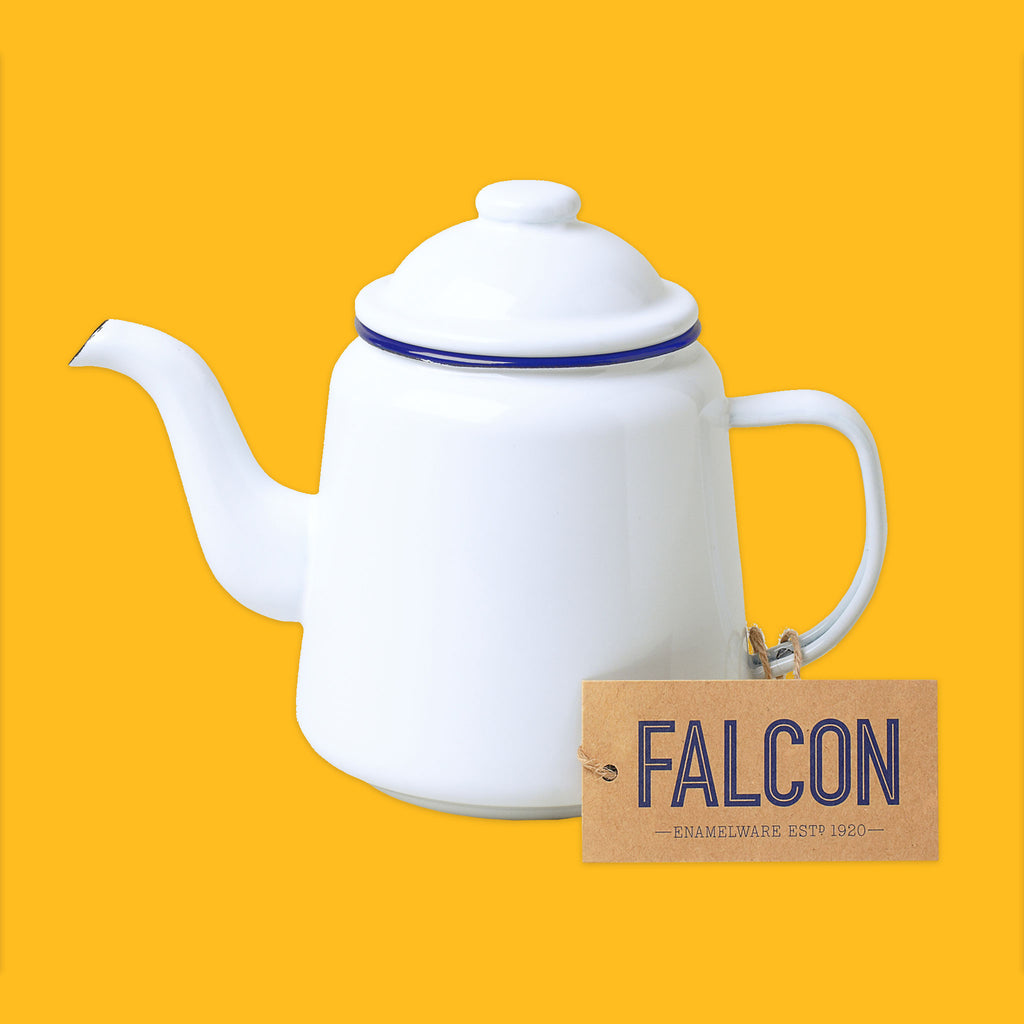 Falcon Enamelware Teapot in White with blue rim