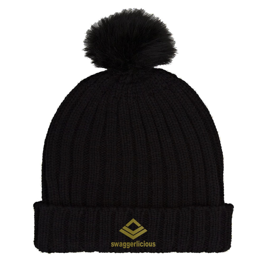 Swaggerlicious Classic Black Beanie Hat with Gold Embroidery - swaggerlicious-clothing.com