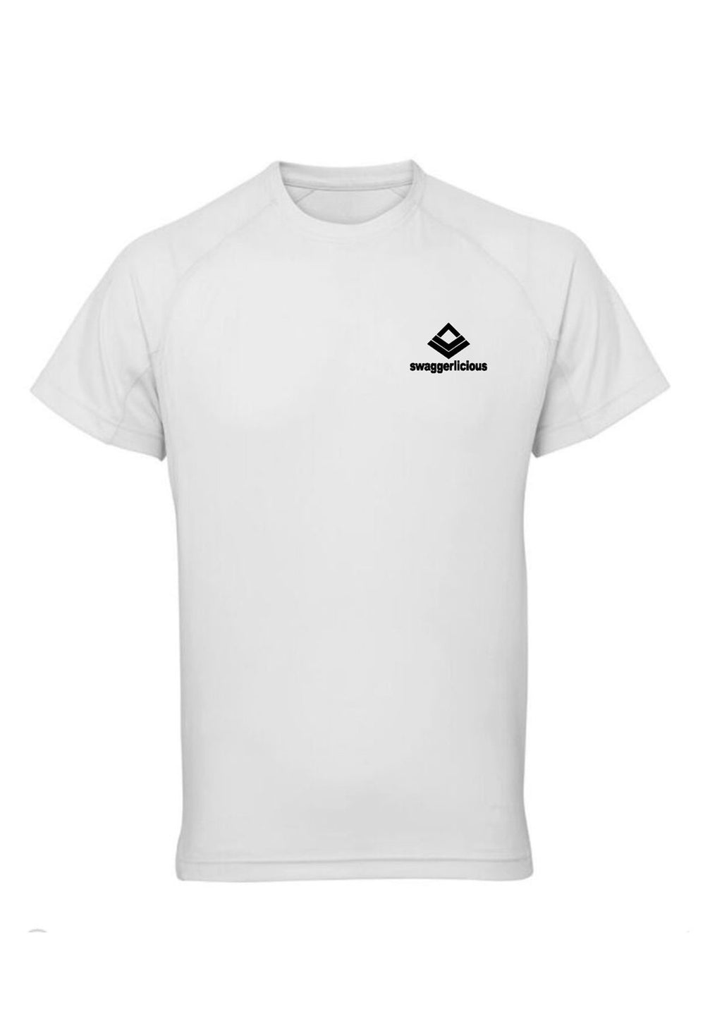 White Swaggerlicious Quick Dry Active T-Shirt with Black Logo