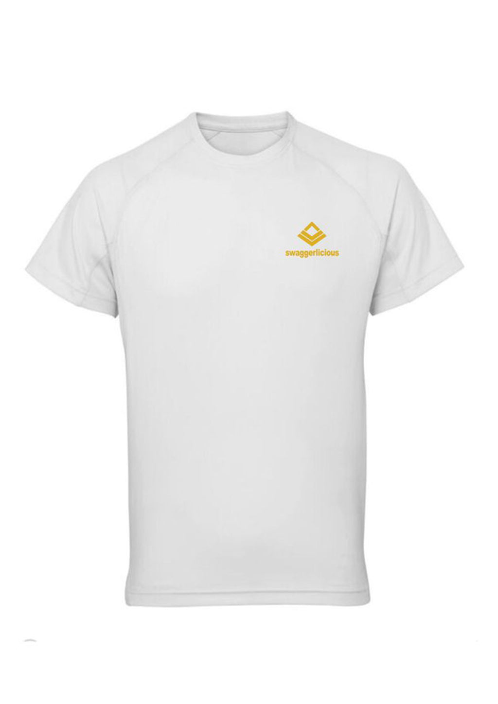 White Swaggerlicious Active Dry T-Shirt with Gold Logo