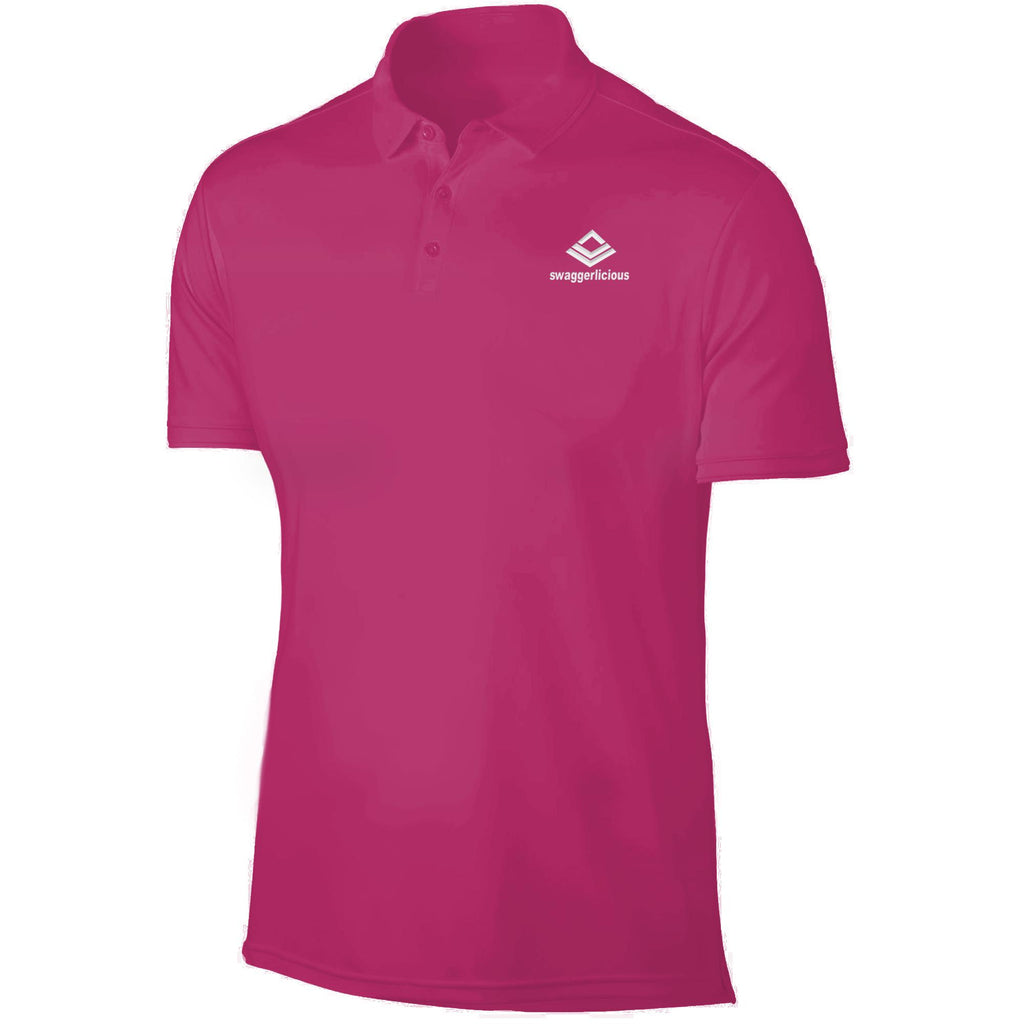 SWAGGERLICIOUS LADIES CLASSIC PINK POLO T-SHIRT - WHITE EMBROIDERY - swaggerlicious-clothing.com