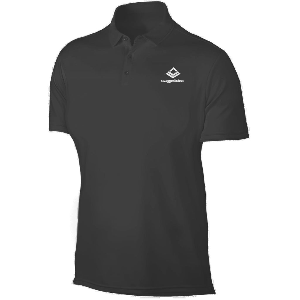 SWAGGERLICIOUS LADIES CLASSIC BLACK POLO SPORT T-SHIRT - WHITE EMBROIDERY - swaggerlicious-clothing.com