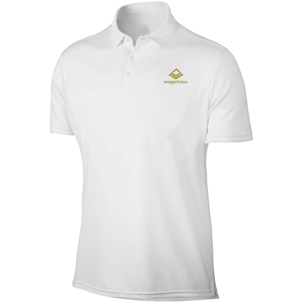SWAGGERLICIOUS LADIES CLASSIC WHITE POLO SPORT T-SHIRT WITH GOLD LOGO - swaggerlicious-clothing.com