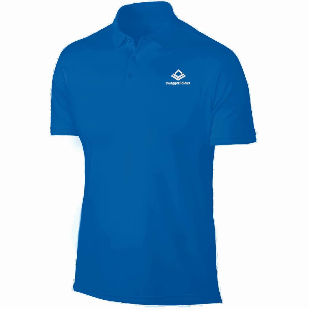 SWAGGERLICIOUS LADIES CLASSIC BLUE POLO SPORT T-SHIRT - WHITE EMBROIDERY - swaggerlicious-clothing.com