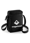Swaggerlicious Black Sports Messenger Bag with White Logo - swaggerlicious-clothing.com