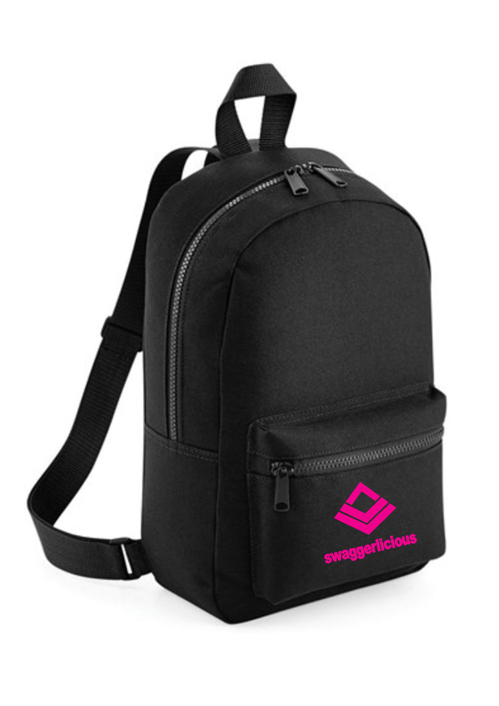 Swaggerlicious Classic Black Mini Backpack with Pink Logo - swaggerlicious-clothing.com