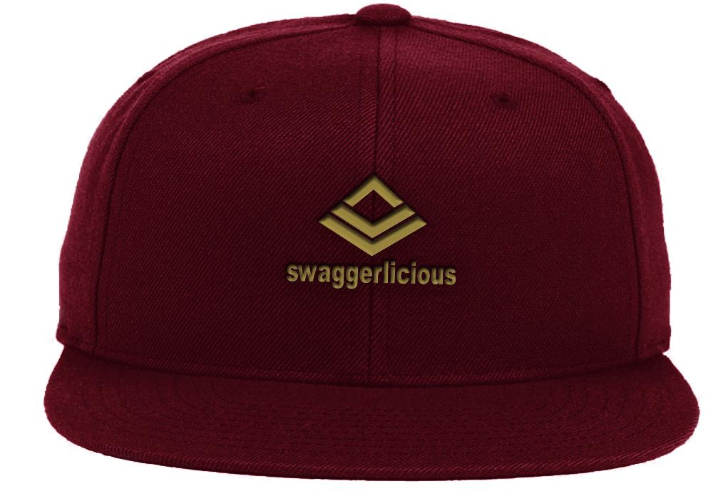 Swaggerlicious Classic Burgundy Snapback Cap with Mini Gold Logo - swaggerlicious-clothing.com
