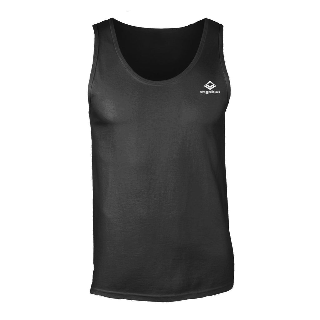 Swaggerlicious Classic Men's Black Tank Top with Mini White Logo - swaggerlicious-clothing.com