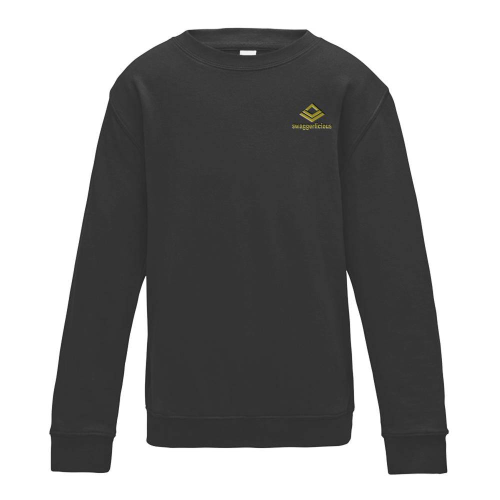 SWAGGERLICIOUS KIDS CLASSIC BLACK SWEATSHIRT WITH MINI GOLD LOGO - swaggerlicious-clothing.com