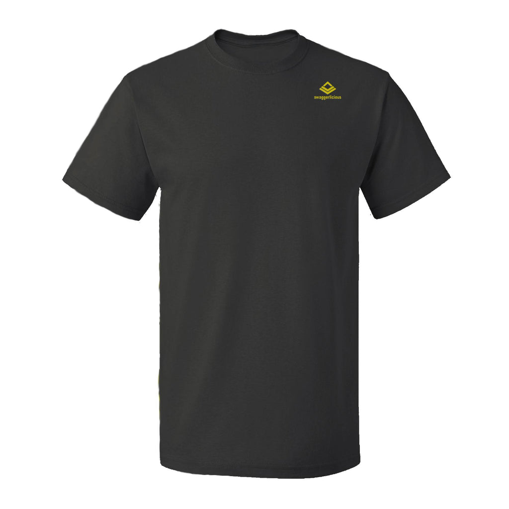 Swaggerlicious Classic Mens Black Crew Neck T-Shirt with Mini Gold Logo - swaggerlicious-clothing.com