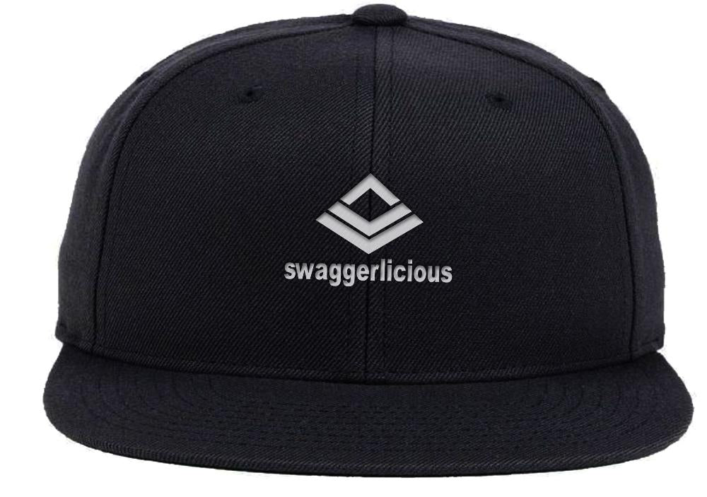 Swaggerlicious Classic Black Snapback Cap with Mini Silver Logo - swaggerlicious-clothing.com
