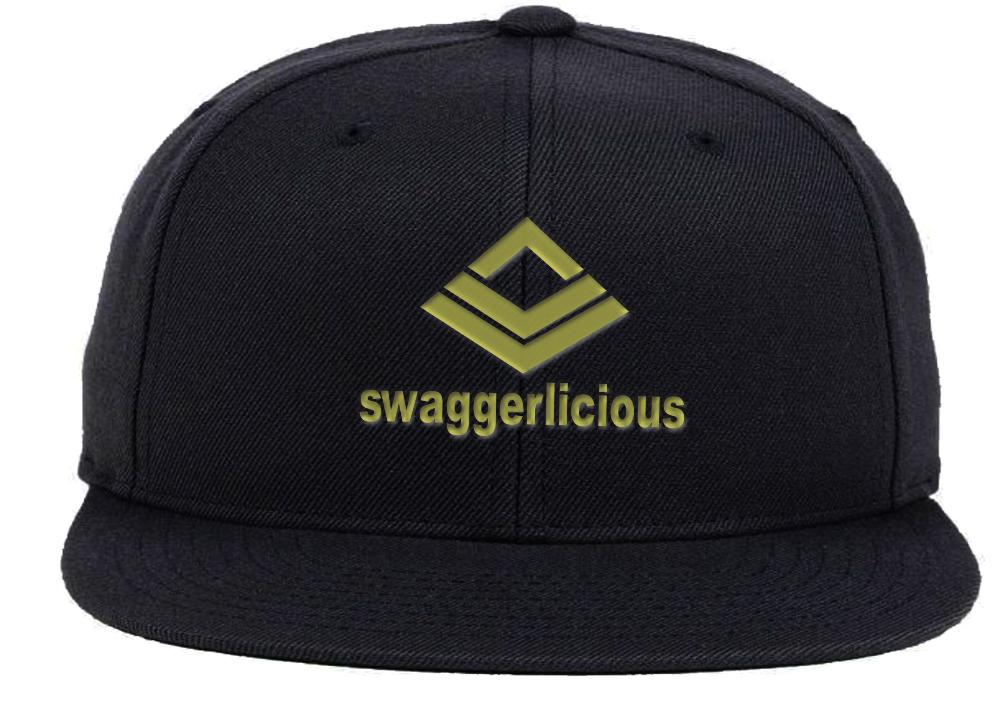 SWAGGERLICIOUS KIDS CLASSIC BLACK SNAPBACK CAP WITH GOLD LOGO - swaggerlicious-clothing.com