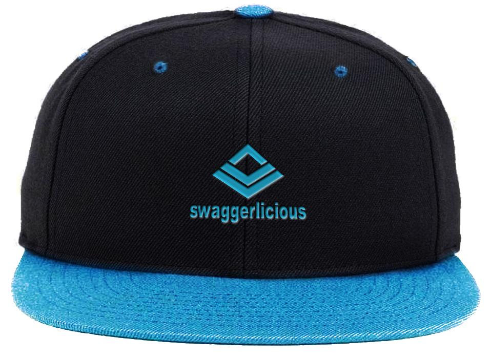 Swaggerlicious Classic Blue and Black Snapback with Mini Blue Logo - swaggerlicious-clothing.com