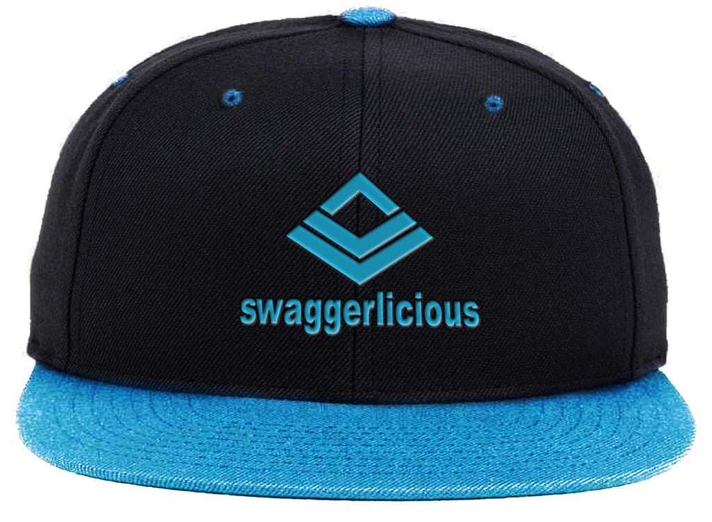 Swaggerlicious Classic Blue and Black Snapback Cap with Blue Logo - swaggerlicious-clothing.com
