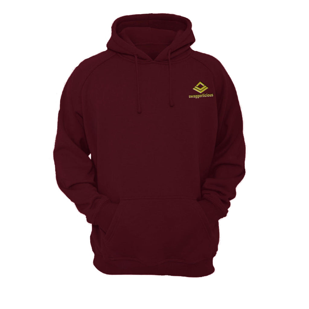 SWAGGERLICIOUS KIDS CLASSIC BURGUNDY HOODIE WITH MINI GOLD LOGO - swaggerlicious-clothing.com