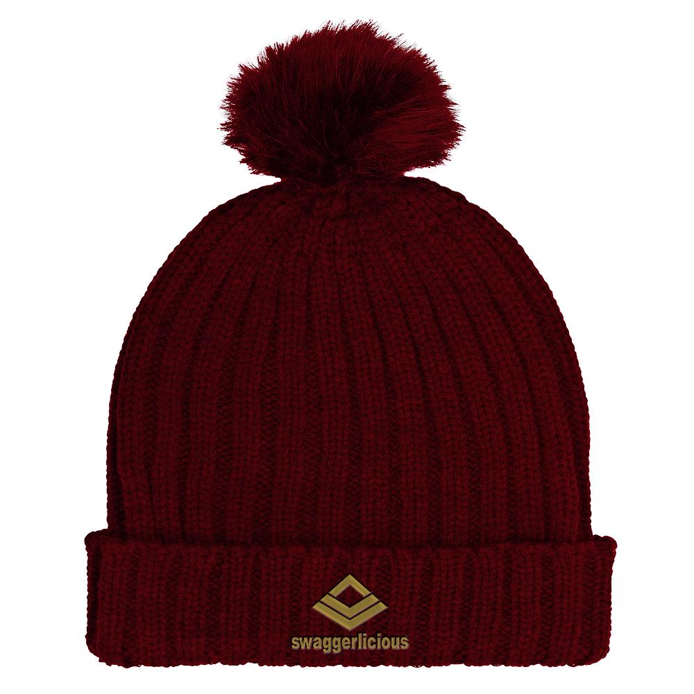 Swaggerlicious Classic Burgundy Beanie Hat with Gold Embroidery - swaggerlicious-clothing.com