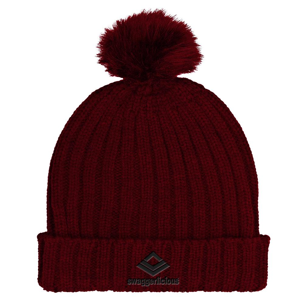 Swaggerlicious Classic Burgundy Beanie Hat with Black Embroidery - swaggerlicious-clothing.com