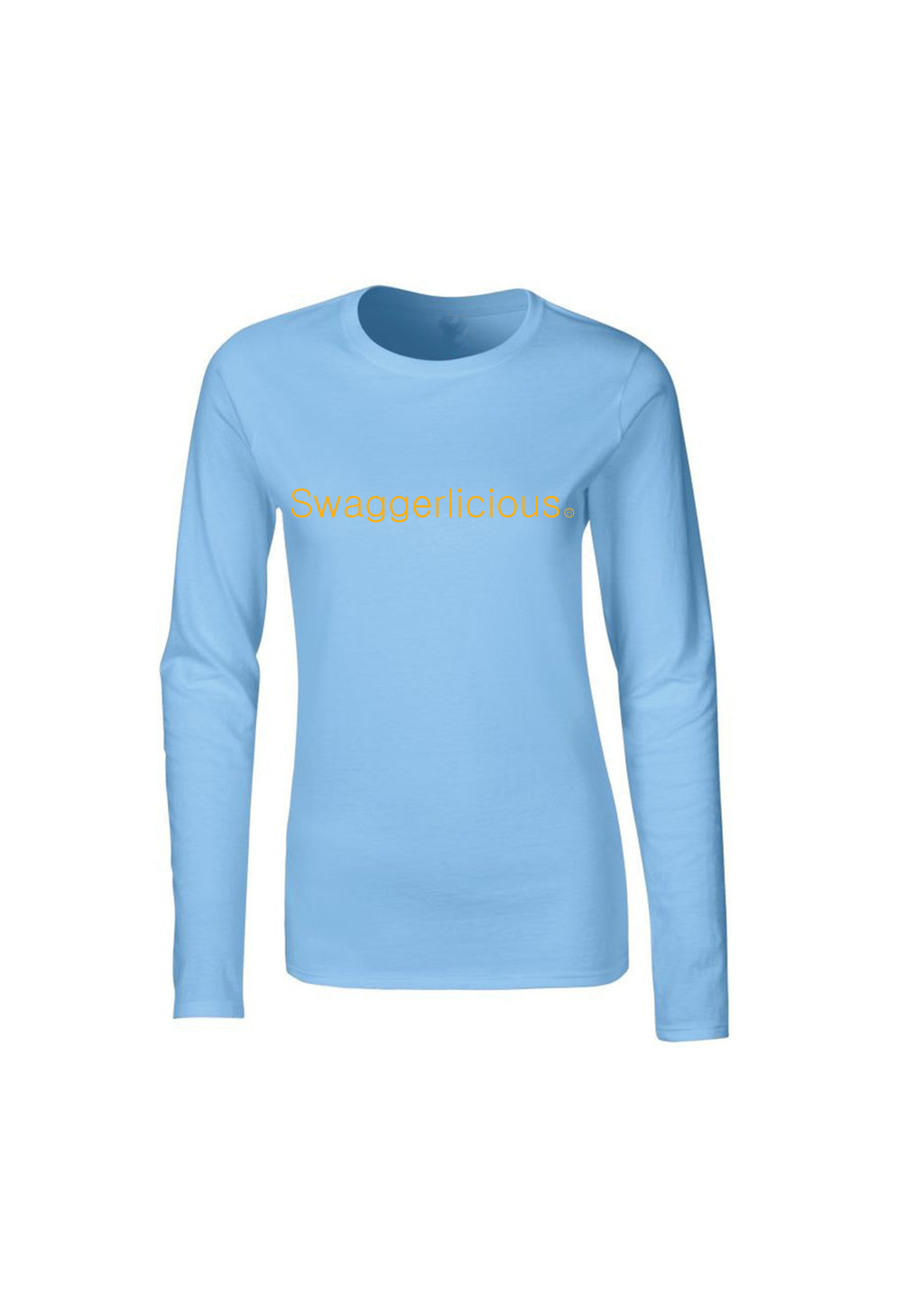 LIGHT BLUE SWAGGERLICIOUS LADIES LONG SLEEVE TOP - swaggerlicious-clothing.com