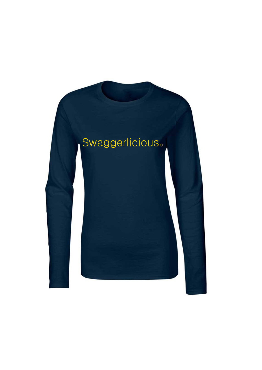 NAVY BLUE SWAGGERLICIOUS LADIES LONG SLEEVE TOP - swaggerlicious-clothing.com