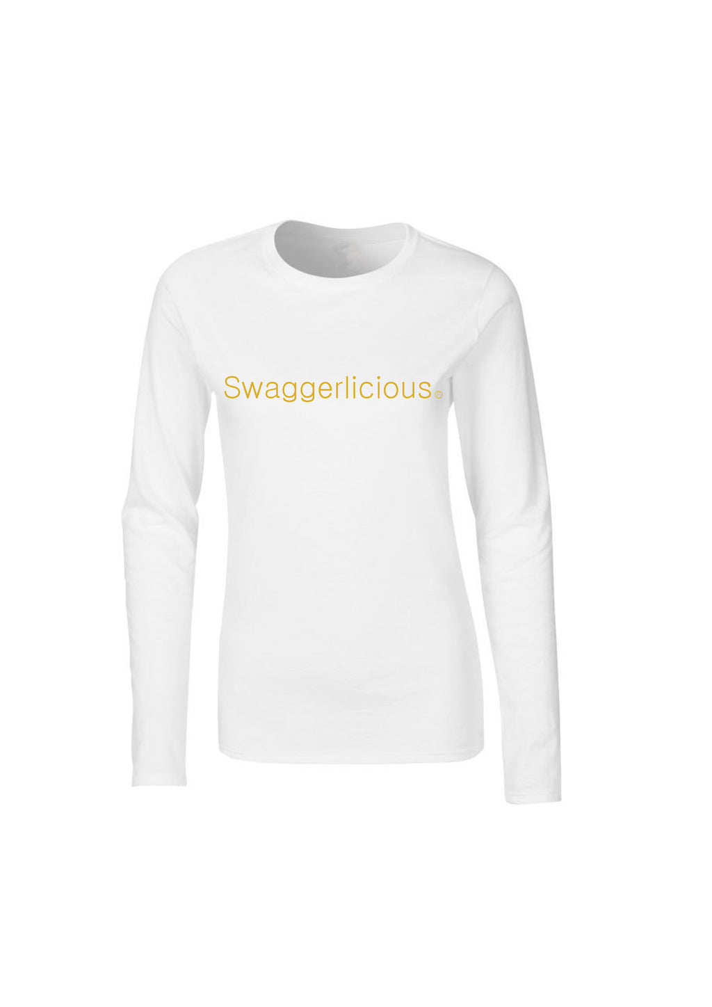 WHITE SWAGGERLICIOUS LADIES LONG SLEEVE TOP - swaggerlicious-clothing.com