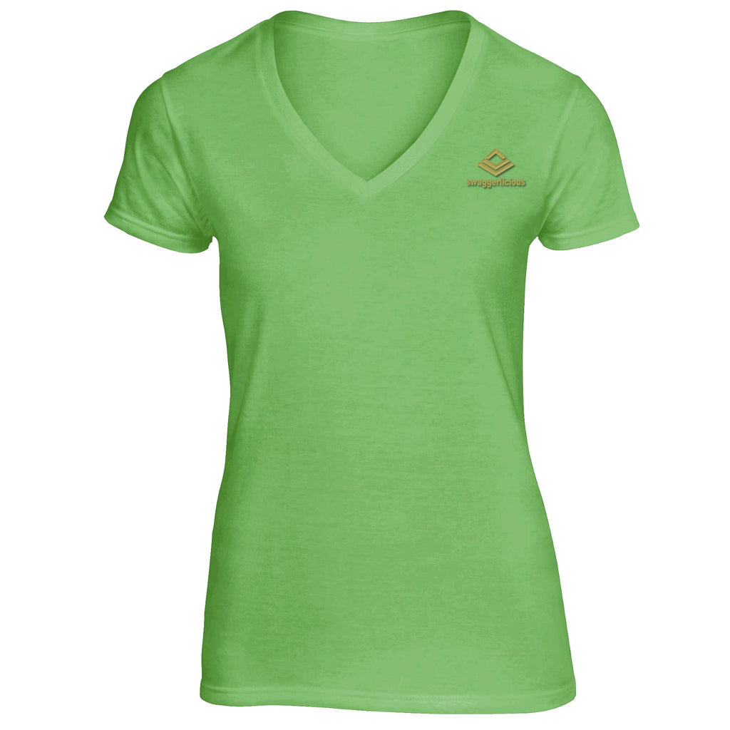 SWAGGERLICIOUS LADIES CLASSIC SPORT GREEN V-NECK T-SHIRT - GOLD LOGO - swaggerlicious-clothing.com