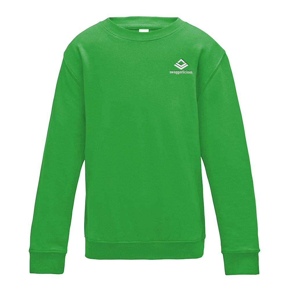 SWAGGERLICIOUS KIDS CLASSIC GREEN SWEATSHIRT WITH MINI WHITE LOGO - swaggerlicious-clothing.com