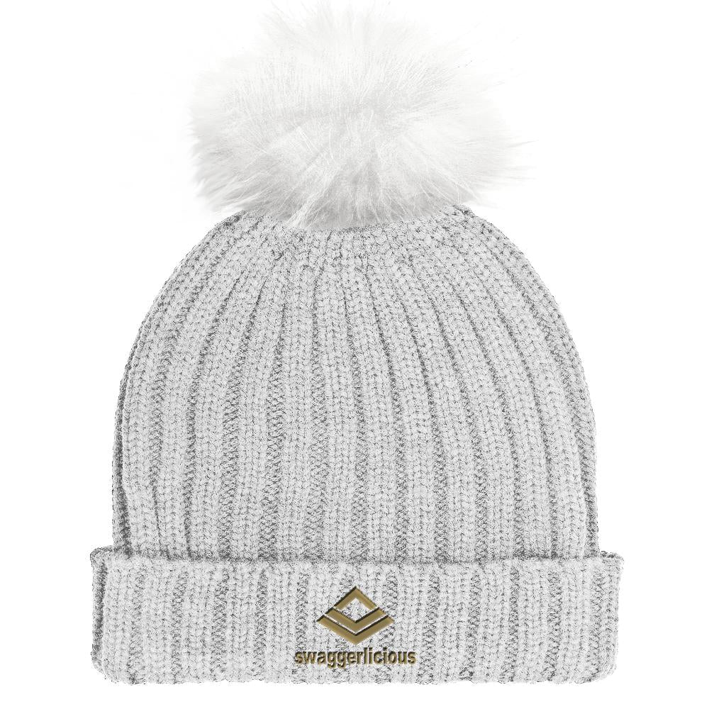 Swaggerlicious Classic Grey Beanie Hat with Gold Embroidery - swaggerlicious-clothing.com