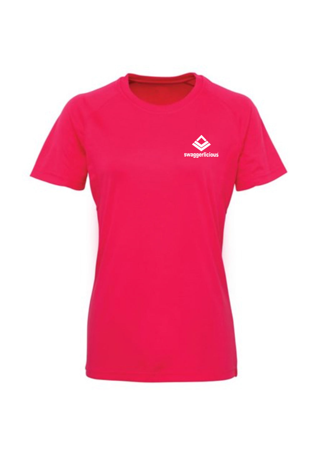 Swaggerlicious Hot Pink Active Sports Tee with White Logo