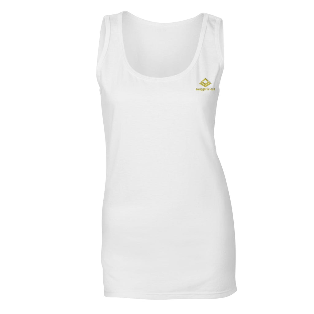 SWAGGERLICIOUS LADIES CLASSIC WHITE TANK TOP WITH GOLD LOGO - swaggerlicious-clothing.com