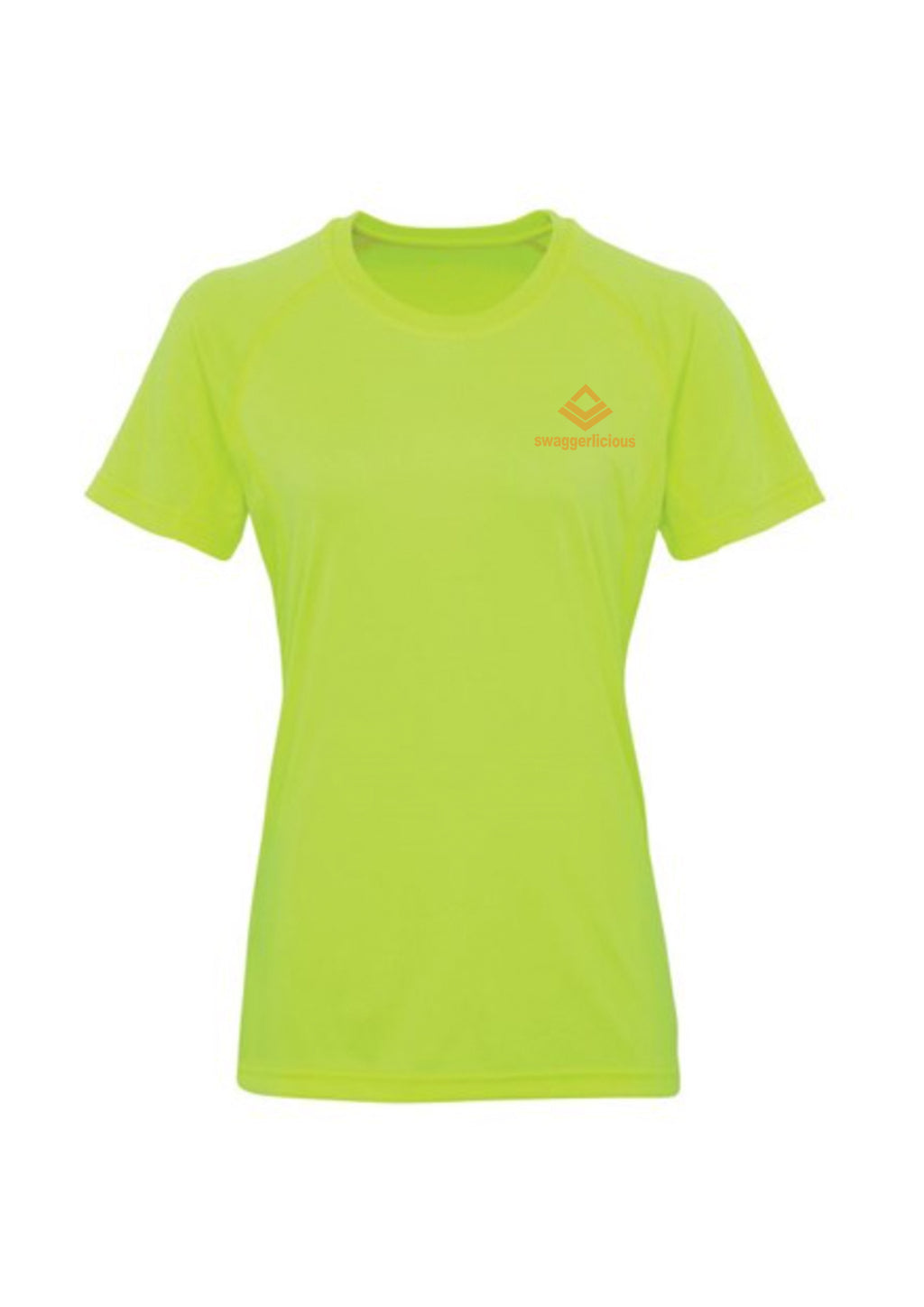 Swaggerlicious Lightning Green Active Sports Tee with Gold Logo