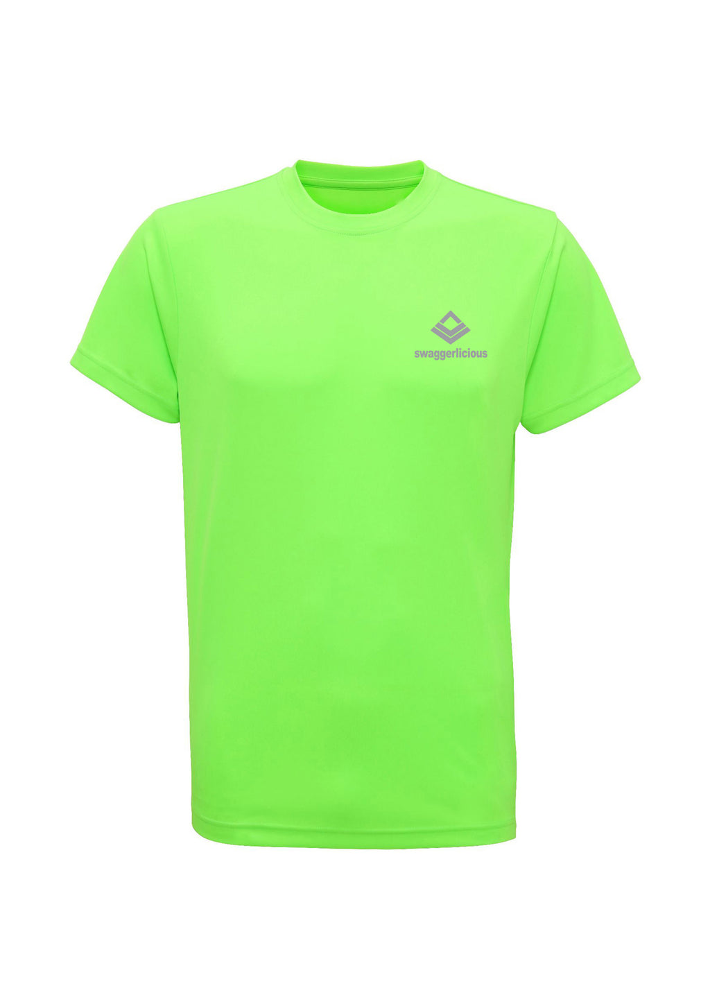 Fluorescent Green Swaggerlicious Quick Dry Active T-Shirt with Silver Logo - swaggerlicious-clothing.com
