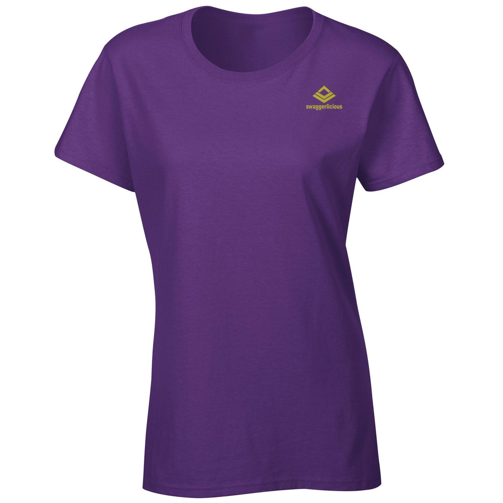 Swaggerlicious Classic Ladies Purple Crew Neck T-Shirt with Mini Gold Logo - swaggerlicious-clothing.com