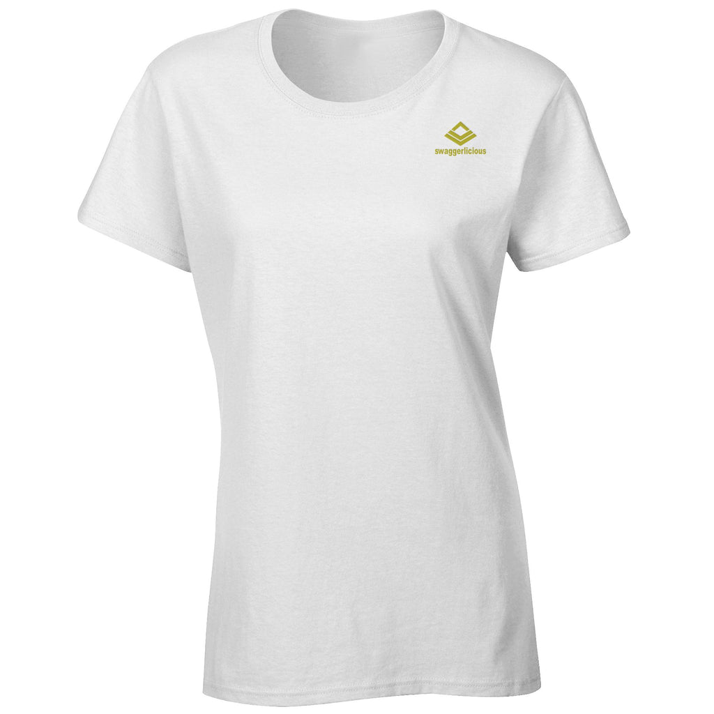 Swaggerlicious Classic Ladies White Crew Neck T-Shirt with Mini Gold Logo - swaggerlicious-clothing.com