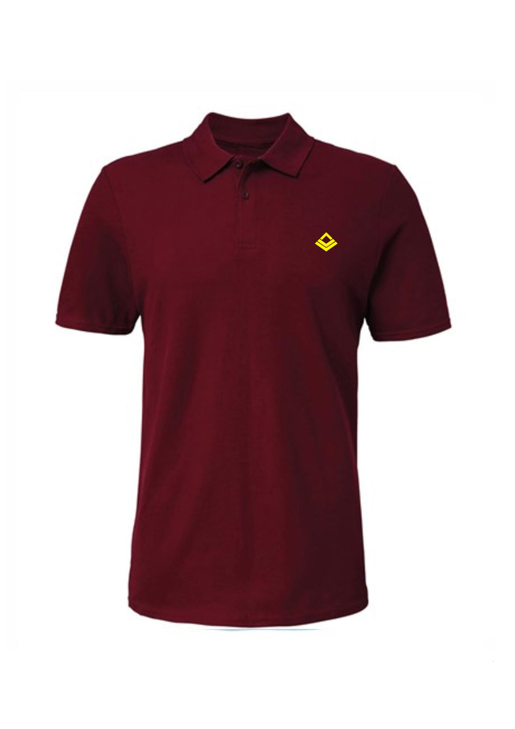Swaggerlicious Maroon Simple Polo Shirt with Yellow Logo