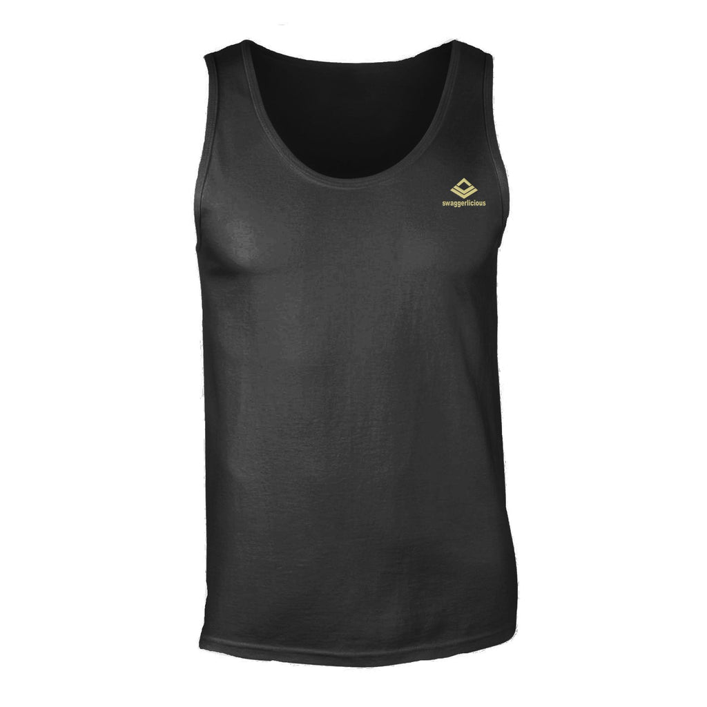 Swaggerlicious Classic Men's Black Tank Top with Mini Gold Logo - swaggerlicious-clothing.com